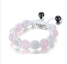 Ladies Luxury Shamballa Bracelet Rose Quartz and Silver Crystal Fireball Beads