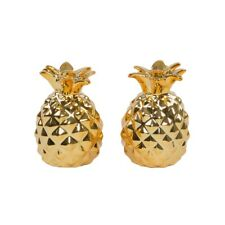 Golden Pineapple Nouveauté Salt and Pepper Shaker Set pots vintage PORTE-SETS