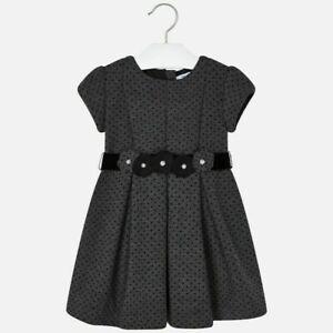 Mayoral girls short sleeve grey polka dot dress all ages 4936