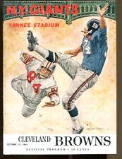 1963 New York Giants v Cleveland Program 10/13 Yankee Stadium Ex/MT J Brown 2TDs