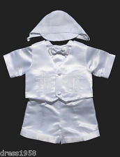 Baby Toddler Boys  Christening /Baptism Outfit,  White, Cross,Sz: X-Small to 4T