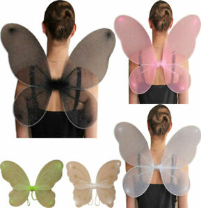 Womens Net Fairy Wings With Silver Glitter Ladies Fancy Dress Party Accessory