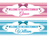 2 Personalised Christening Banner 1st Birthday Baby kid Party Decoration BAPTISM