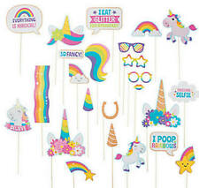 Pack of 24 - Glitter Unicorn Photo Stick Props Birthday Photo Booth Party Decor