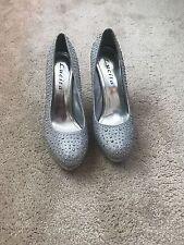 Lucita H-55 Prom Wedding Rhinestone Silver Toe Stilettos Platform Shoes Size 8.5