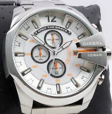 Diesel MEGA CHIEF DZ4328 Men's Silver Stainless Steel Chronograph Watch $240 NEW