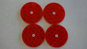 "School Bus 3"" Round Red Reflector NEW STOCK 3 inch Plastic Backing center mount"