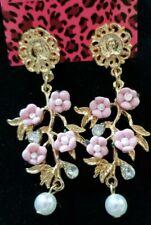 Betsey Johnson Fashion Dark Pink Crystal Resin Pearl Flower Stud Dangle Earrings