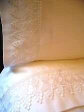 VENICE LACE Sheet Set QUEEN 4pc White 100% Cotton Sateen 400TC NEW by UtaLace