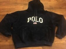 Vintage POLO Ralph Lauren USA Mens Sherpa Fleece Navy Spell Out XL