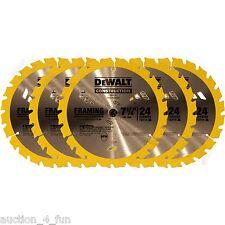 """5pc DeWalt DW3178 7-1/4"""" 24 Carbide Tooth TPI Framing Circular Saw Blade DW3578"""