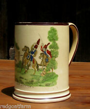 Rare Antique Napoleonic Creamware Tankard Cossack Mode Of Attack Pearlware Mug