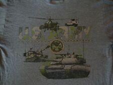VTG U.S. ARMY Military Tank Hellicopter Gray Soft Thin American Flag T shirt L