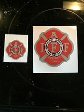 """ONE RED/SILVER IAFF Career Firefighter Union Reflective 3M Sticker Decal 4"""""""