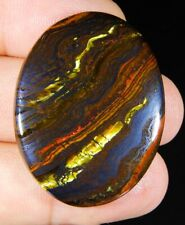 64 CT RARE 100% NATURAL GOLD FIRE RED IRON TIGER EYE OVAL CABOCHON GEMSTONE A150