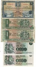 SCOZIA clydesdale bank + NORD DELLA SCOZIA £ 1 BANCONOTE 5 diverse 1958-1983