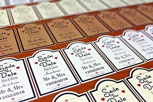 10 or 50 cards Personalised Magnetic Wedding Save the Date and envelopes FREE PP