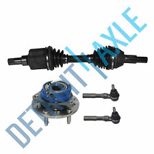 Front Passenger CV Axle Shaft + Wheel Hub and Bearing Assembly + 2 Outer Tie Rod