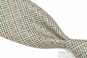 "HERMES 429010T Black Plaid Check Red Polka Dot 100% Silk Luxury Tie - 3.125"""