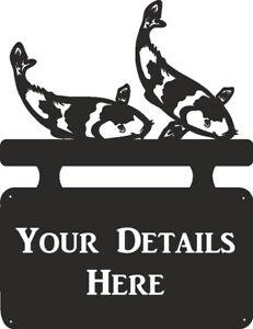 Koi Carp House Name Outdoor Hanging Metal Black House Sign Personalised