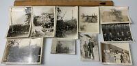 Lot of 10 Original WWII Photos US Airmen Army Uniform Camp Boats Guns Navy USAF