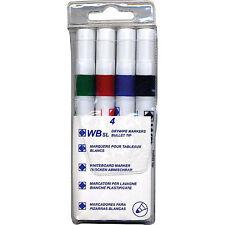 Whiteboard Drywipe Marker Pens Bullet Tip 4 Assorted Colours Xylene Toluene Free