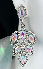 """Lovely! 2.75"""" Long AB Crystal Drop Earrings, Drag Queen, Prom, Bridal, Pageant"""