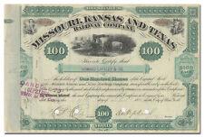 Missouri, Kansas and Texas Railway Company Stock Certificate