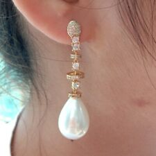 Teardrop White Sea Shell Pearl Yellow Gold Plated  Cz pave Stud Earrings