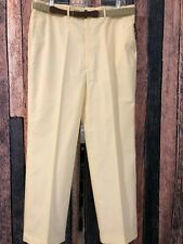 Haggar Chino/Golf Trousers w/Belt,Cotton Blend Flat Front, Creme Color, Sz 36/29