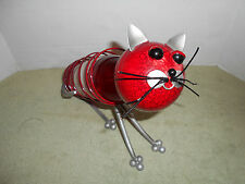 Metal Sculpture Cat Wine Bottle Holder Decoration Wine Rack Red Color
