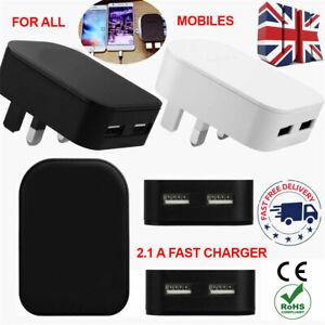 100% Fast 2.1A Dual Ports Charger Adapter For All Tablets Mobile Phones UK Plug