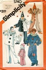 Simplicity Adults' Clown Costumes and Hats Pattern 5740 Size S UNCUT