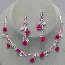 Magenta rose vine necklace set sparkly diamante prom bridal party jewellery 0410