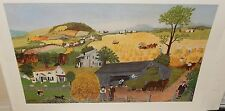"""GRANDMA MOSES """"IN HARVEST TIME"""" VINTAGE 1947 COLOR LITHOGRAPH"""