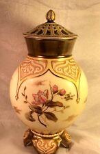 Royal Worcester Style Porcelain Potpourri Jar w Lid Blush Ivory C1908  Austria