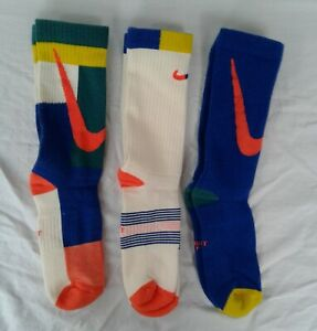 New Youth Nike Training Crew Socks Multi Colors Assorted Patterns Pack B