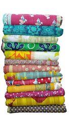 Indian Kantha Quilt Lot Vintage Handmade Bedspread Throw Cotton Twin Gudari