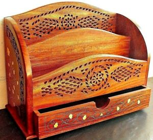 Two tier large carved wooden letter rack with drawer and brass inlaid detail