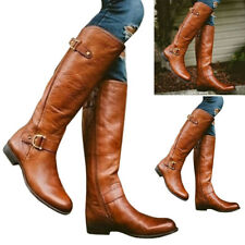 Fashion Women Winter Warm Over Knee High Ladies PU Leather Boots Shoes Size