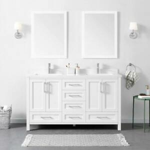 "Bathroom vanity - 60"" Lourdes - White - Liquidation"