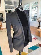 $700 HELMUT LANG Fancy Black Satin Blazer Sz 0