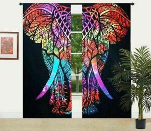 "Indien 82"" x 40"" Tie-Dye Elephant Mandala Cotton Curtain Set Window Drapes Panel"