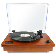 Bluetooth USB Turntable Vintage Record Player Vinyl-to MP3 Nature Wood, Brown