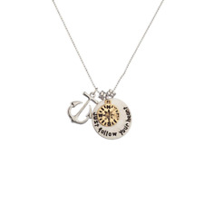 Heart Charm Pendant Chain Necklace Lux Anchor Compass Just Follow Your