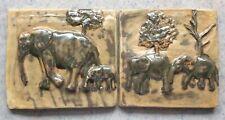 STUDIO ART TILE :: Set/2 ELEPHANT FAMILY TILES Landscape Raised Pottery Signd JH