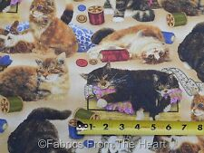 Sew Curious Kitty Cats Buttons Spools Thread BY YARDS Wilmington Cotton Fabric