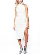Minkpink Temptation High Polo Neck Cream Marle Sleeveless Midi Dress Xs S M L