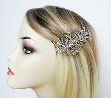 Filigree Barrette Hair Clip Grip Flower Leaf crystal design in silver tone Prom
