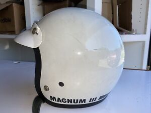 Vintage 1975 Bell Magnum III 3 Motorcycle Car Racing Helmet 7 1/4 White